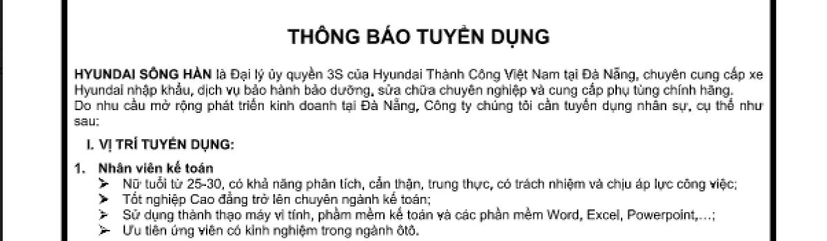 HYUNDAI SÔNG HÀN TUYỂN DỤNG NHÂN SỰ THÁNG 9/2017